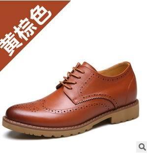 男士真皮布洛克单鞋隐形内增高休闲男鞋承发秋季新品承发包邮