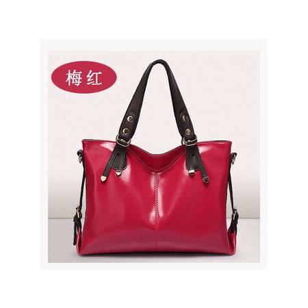 品牌休闲斜挎包包女士水饺包新品真皮单肩包欧美时尚油蜡皮女包新安雅