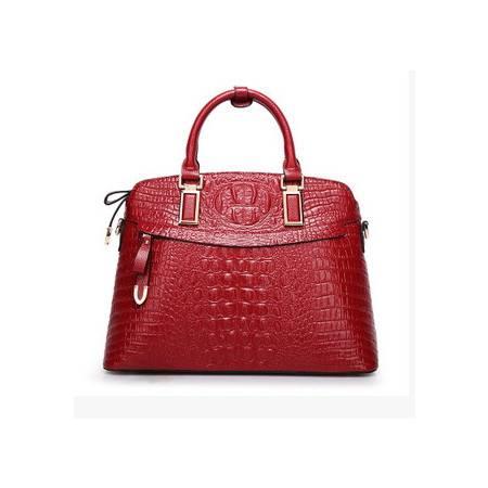 手提包欧美时尚斜跨包贝壳包品牌女包 春款潮流鳄鱼纹真皮女包新安雅