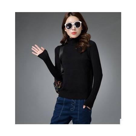 百搭加厚纯色高领打底衫女式毛衣秋冬时尚新款女式针织衫洪合包邮