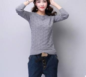 套头毛衣女秋冬新款装欧美纯色长袖圆领修身针织衫打底衫洪合