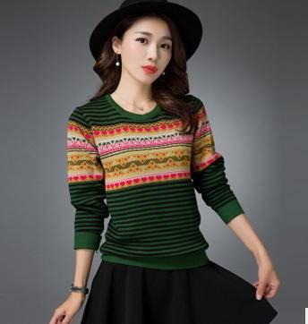 显瘦长袖针织衫外套女秋冬装新款韩版拼接撞色圆领毛衣女洪合
