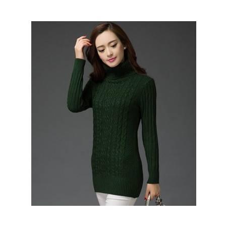 长袖高领中长款纯色修身韩版女式针织衫秋冬保暖毛衣打底衫洪合