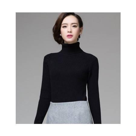 秋冬新款修身显瘦长袖针织加厚女装 高领毛衣女弹力女衫长袖洪合