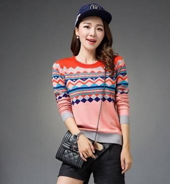 时尚保暖纯色宽松针织衫女装毛衣外套秋冬新款韩版洪合