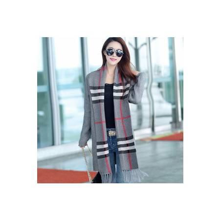 时尚条纹厚针织开衫外套秋冬女装 欧美蝙蝠长袖流苏毛衣披肩洪合包邮