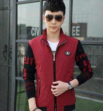 韩版修身男士夹克 时尚大码夹克男装外套男印花夹克包邮玛尚