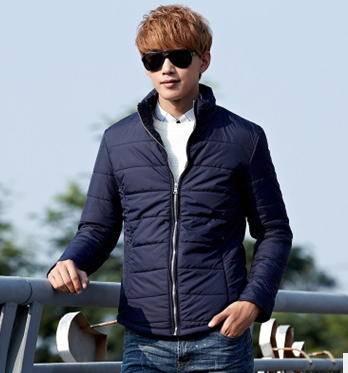 韩版时尚纯色修身棉衣男装外套秋冬新款男士棉衣 包邮玛尚