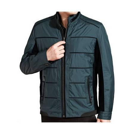 中年休闲拼色立领外套 男式夹克秋冬新款男装长袖夹克莫菲包邮