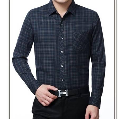 中年爸爸装格子纯棉加厚加绒男式长袖衬衫秋冬新款男长袖衬衫莫菲