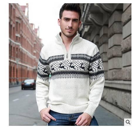 青少年时尚拉链立领加厚羊毛衫男保暖外套秋冬装新款男长袖毛衣莫菲包邮