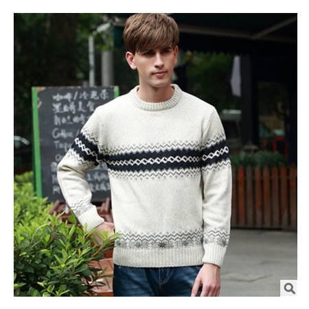 青少年时尚英伦圆领粗纺加厚羊毛衫 保暖男式线衫秋冬新款男毛衣莫菲包邮