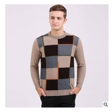 中年男圆领拼色长袖保暖貂绒衫 男式羊绒衫秋冬新款男士毛衣莫菲包邮