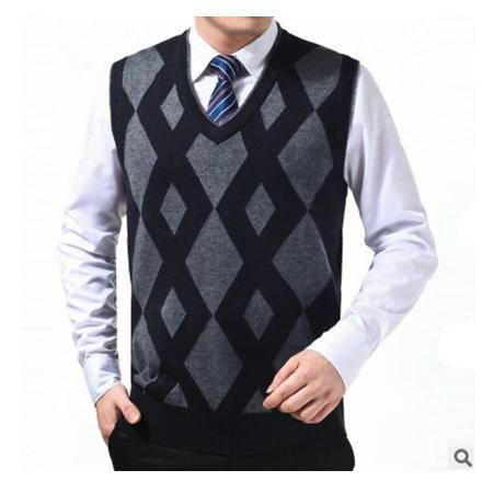 中年春秋格子羊毛羊绒背心无袖商务男装新款男士毛线背心莫菲