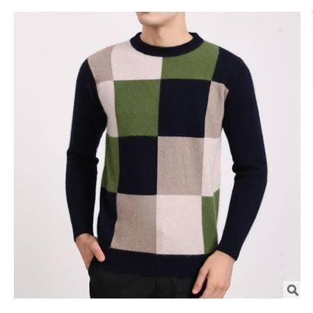 中年休闲圆领套头方格拼色保暖男士貂绒衫批秋冬新款男式毛衣莫菲包邮