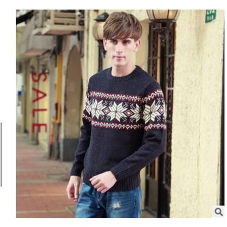 青年英伦风圆领提花粗纺羊毛衫男 加厚男装棉衣秋冬新款男士毛衣莫菲包邮