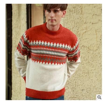 时尚英伦青少年圆领提花羊毛衫 加厚男装棉衣秋冬新款男式毛衣莫菲包邮