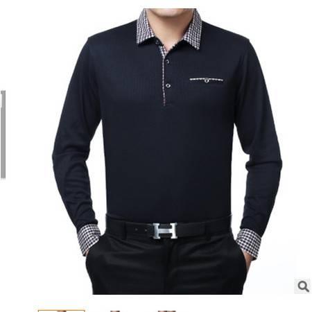 中年商务纯棉男式长袖T恤 品牌t恤男士新款春秋男士t恤 莫菲