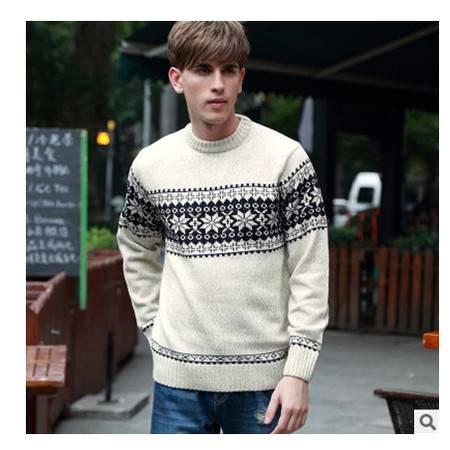 青少年时尚英伦风圆领粗纺羊毛衫 加厚男士棉衣秋冬新款男式毛衣莫菲包邮