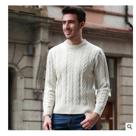 中年休闲加厚保暖圆领羊毛衫男 男式线衫秋冬新款男粗纺毛衣莫菲包邮