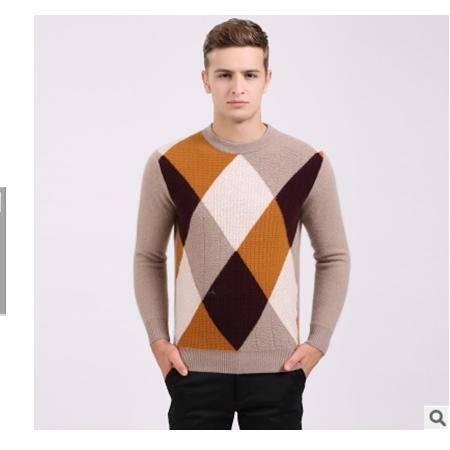 中年休闲拼色圆领加厚针织保暖貂绒衫男羊绒打底衫冬季新款男毛衣莫菲包邮