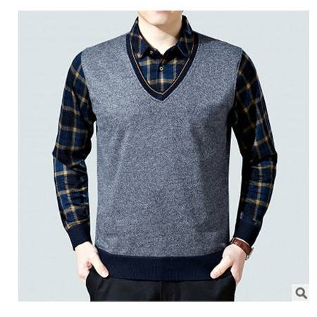棉质假两件套爸爸装打底衫2016新款男式长袖T恤中年休闲男装上衣莫菲
