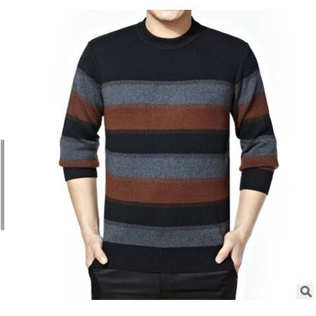 中年休闲圆领拼色条纹加厚男羊毛衫爸爸装打底衫冬季新款男士毛衣莫菲