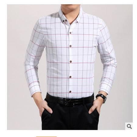 商务男装格子棉质透气春秋款男式衬衣2016春款中年男式长袖衬衫莫菲