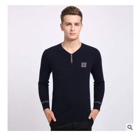 时尚青年V领针织保暖貂绒衫男 羊绒男装打底衫冬装新款男士毛衣莫菲包邮