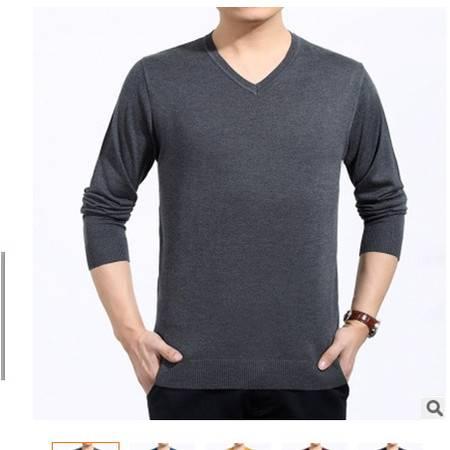 中年男装V领纯色薄款针织羊毛T恤打底衫2016春秋新款男式长袖T恤莫菲