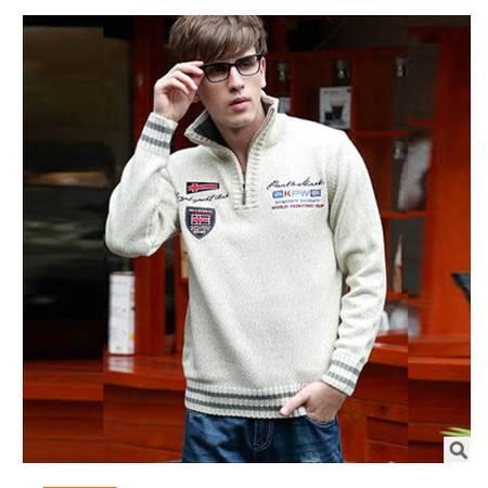 时尚英伦青少年立领提花加厚粗纺羊毛衫 男线衫秋冬男毛衣外套 莫菲包邮
