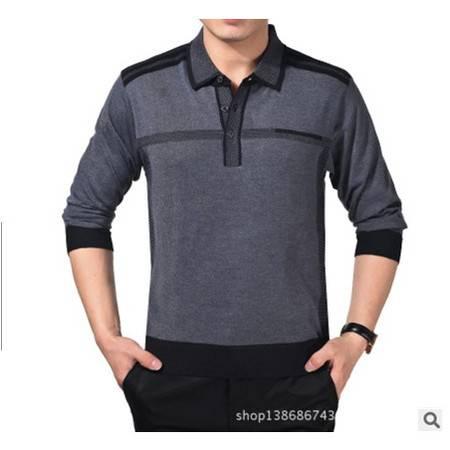 中年休闲薄款羊毛羊绒长袖T恤男装春秋新款纯色男士长袖t恤衫 莫菲