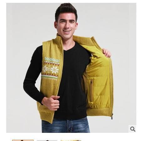 两面可穿加厚保暖开衫男式背心秋冬青少年休闲立领粗纺纯色马甲 莫菲包邮