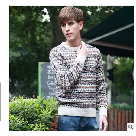 男式加厚棉衣秋冬新款男毛衣 青少年时尚英伦圆领提花粗纺羊毛衫莫菲包邮