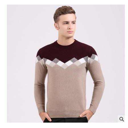 青年羊绒打底衫秋冬新款男毛衣时尚男装拼色圆领针织保暖貂绒衫 莫菲包邮