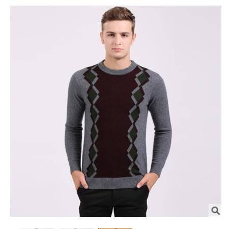 青年羊绒打底衫秋冬新款男毛衣时尚潮男拼色圆领针织保暖貂绒衫莫菲包邮