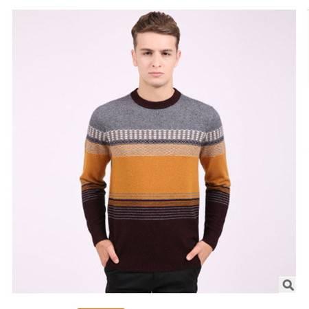 中年拼色圆领保暖貂绒衫 针织男士羊绒打底衫冬季新款男式毛衣莫菲包邮