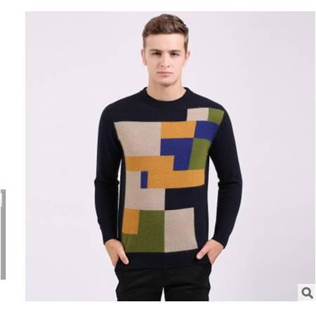中年爸爸装圆领拼色保暖长袖貂绒衫 男式羊绒衫秋冬新款男式毛衣莫菲包邮