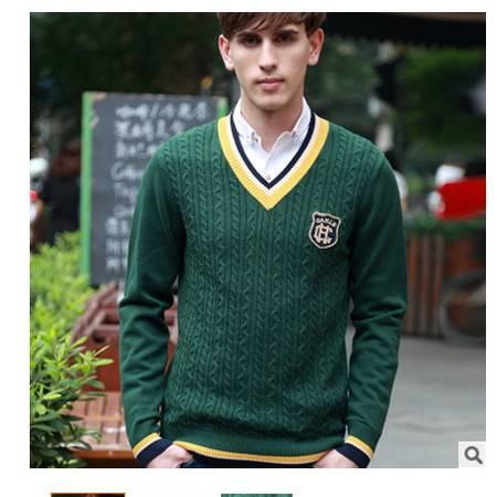 时尚青少年V领提花针织纯棉男士线衫 加厚棉衣秋冬新款男式毛衣 莫菲包邮