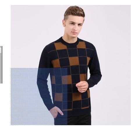 提花格子中年圆领纯羊毛男针织衫加厚爸爸装羊毛衫冬季新款男毛衣莫菲包邮