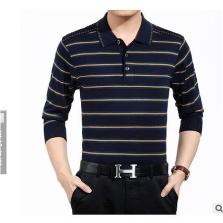 中年商务男装薄款翻领条纹羊毛长袖T恤衫爸爸装2016春款男长袖T恤莫菲