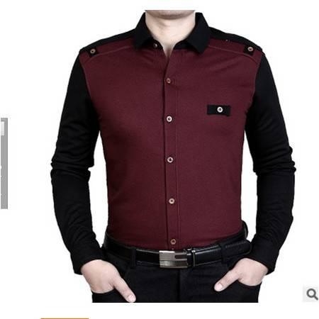中年商务爸爸装翻领拼色棉质男装长袖衬衣秋装新款男士长袖衬衫 莫菲