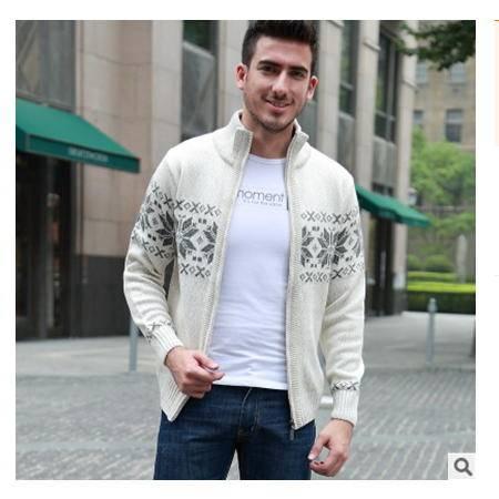 中年休闲线衫立领加厚男式针织开衫棉外套秋冬新款男粗纺羊毛衫莫菲包邮