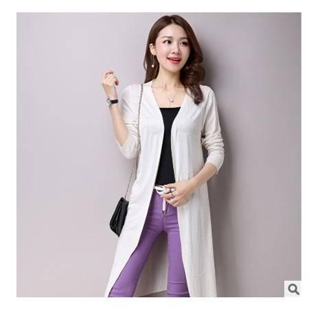 纯色长袖针织衫外套女2016春季新品女装中长款女式针织开衫洪合包邮