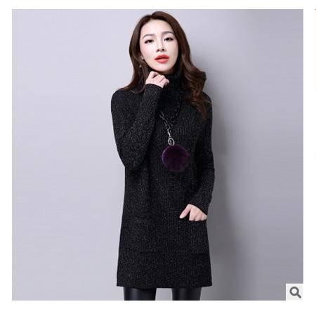 修身高领包臀女打底衫毛衣冬季欧美百搭中长款金丝针织衫洪合