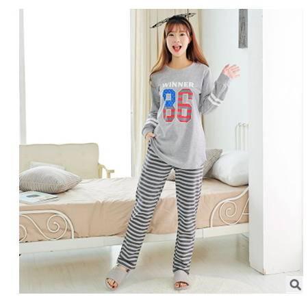 休闲外穿少女家居服套装数字装新款加厚纯棉长袖女士秋冬卡通睡衣旭宏睡衣