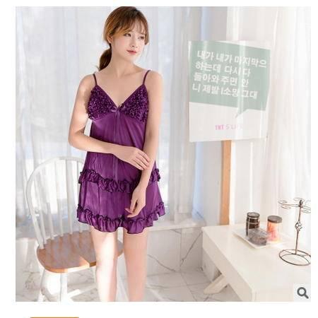 可爱纯色少女短裙透气舒适 情趣睡裙性感女士夏季冰丝吊带睡裙旭宏睡衣