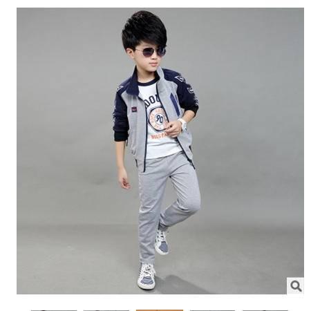 中大童纯棉韩版套装2016春款童套装男童儿童卫衣运动三件套怡衣童装