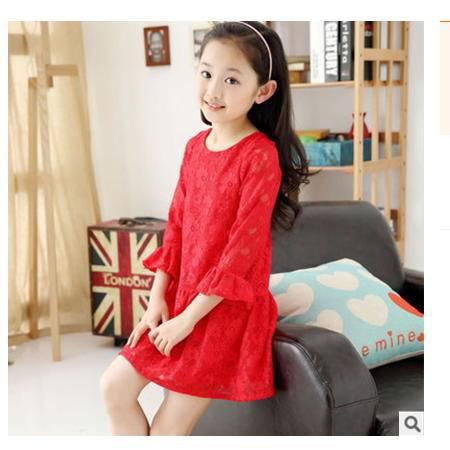 儿童公主裙 童装女童夏季连衣裙 中小童蕾丝裙子怡衣童装