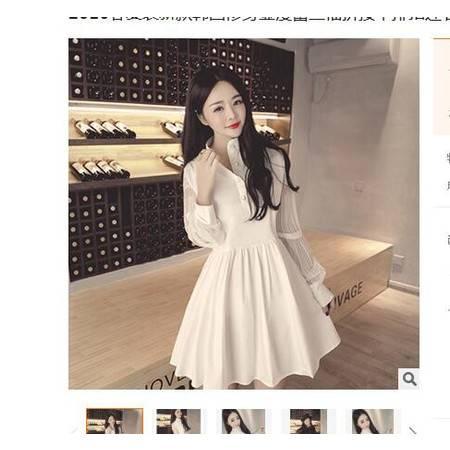 2016春夏装新款韩国修身显瘦蕾丝袖拼接单排扣连衣裙打底裙女简曼